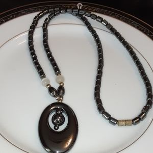 Hematite Disk and Bead necklace